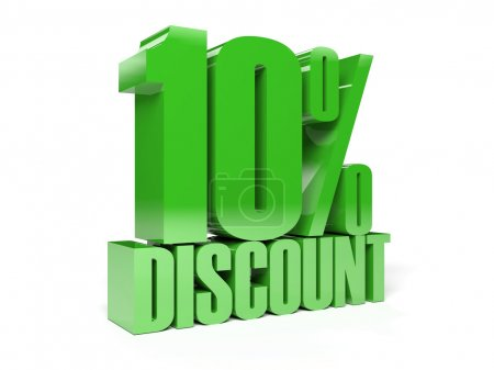 10 percent discount. Green shiny text. Concept 3D illustration.