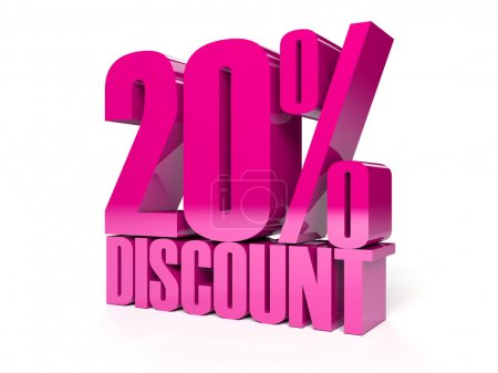 20 percent discount. Pink shiny text. Concept 3D illustration.