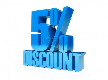 5 percent discount. Blue shiny text. Concept 3D illustration.