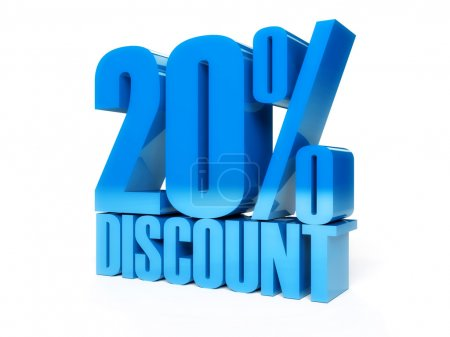 20 percent discount. Blue shiny text. Concept 3D illustration.