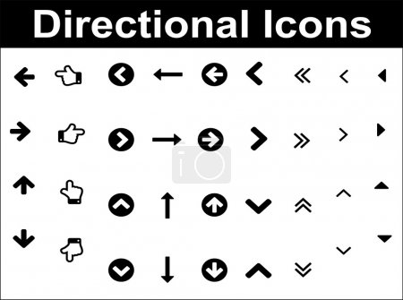 Directional icons set. Black over white background.