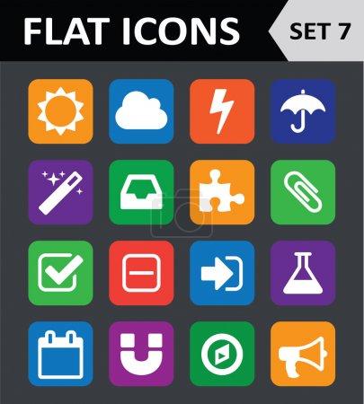 Universal Colorful Flat Icons. Set 7.