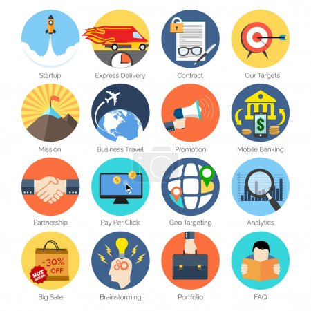 Set of colorful icons in modern flat design for Business, SEO an