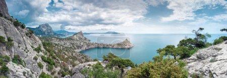 Panorama of rocky coast of Black sea