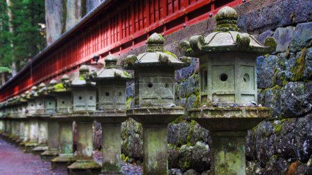 Stone lanterns at Toshogu Shrine, Nikko, Japan