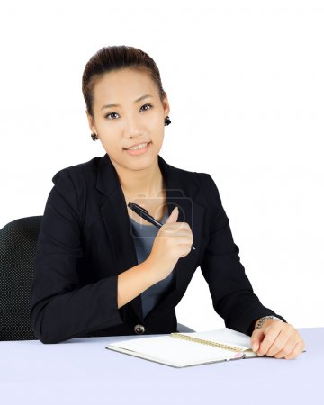 Isolated Young Asian Business Woman on White