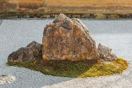 A Zen Rock Garden in Ryoanji Temple in Kyoto