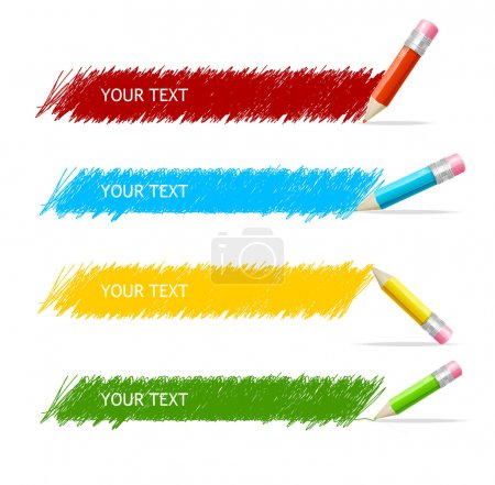Illustration for Vector colorful text box and pencils - Royalty Free Image
