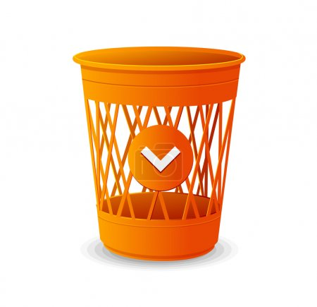 Vector plastic basket orange, trash bins on white