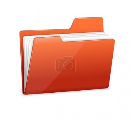 Illustration for Red file folder icon isolated on white - Royalty Free Image