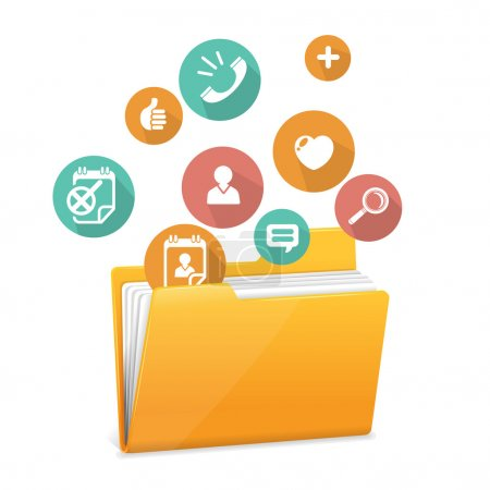 Illustration for Yellow file folder icon and flat icons - Royalty Free Image