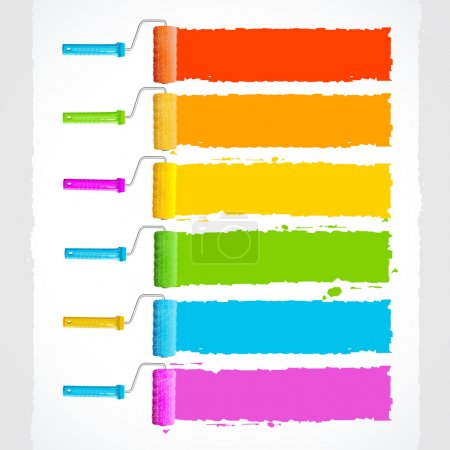 Vector roller brushes with rainbow colors