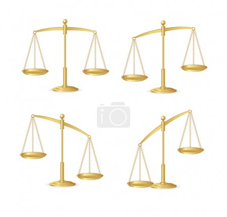Illustration for Gold justice scales isolated on white - Royalty Free Image