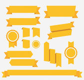 Vector Yellow retro ribbons set Elements