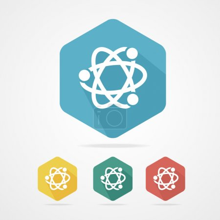 Illustration for Vector flat atom icon set on white - Royalty Free Image