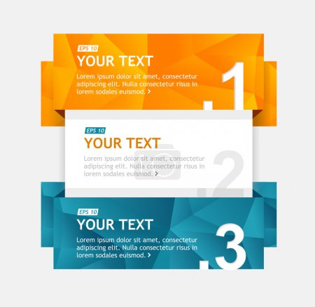 Illustration for Vector colorful text boxes, infographics options banner 1 2 3 - Royalty Free Image