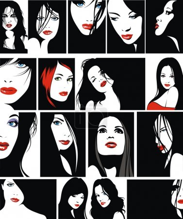 Illustration for Easy faces of girls with red lips as nice fashion background - Royalty Free Image