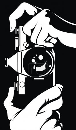 Illustration for Photographer - camera in his hands is working - Royalty Free Image