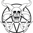 Pentagram - sign of the hell in the black and whit...
