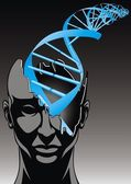 man and DNA spiral - future of biology technologies