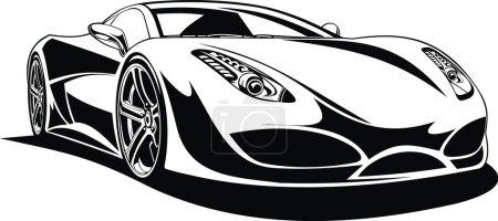 Illustration pour Mon design original de voiture de sport en noir et blanc - image libre de droit
