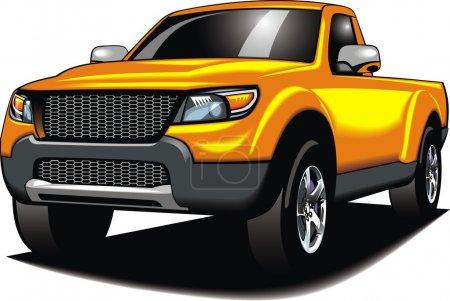 Illustration pour Ma voiture 4x4 originale (mon design) en couleur jaune isolé sur le fond blanc - image libre de droit