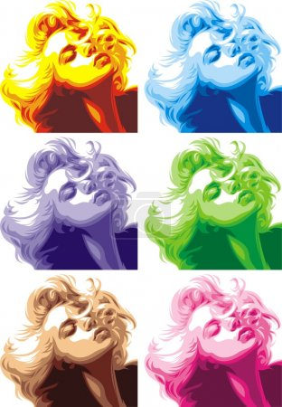 Blonde girl look like Marilyn Monroe isolated on w...