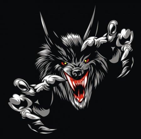 Illustration pour Loup diable illustré sur le fond noir - image libre de droit