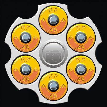 Illustration pour Cylindre revolver avec six balles sur le fond noir - image libre de droit