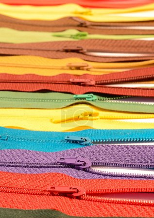 Colored zippers in a row on sale...