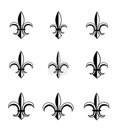 Vector illustration of fleur de lis set