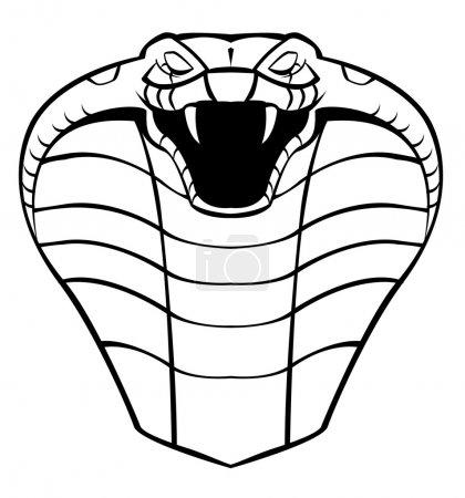 Illustration pour Illustration vectorielle noir et blanc de la tête de cobra - image libre de droit
