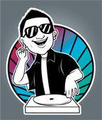 Vector illustration of man disc jockey