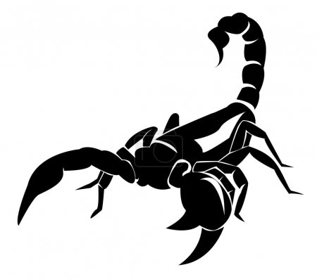Illustration for Black and white vector illustration of Scorpion - Royalty Free Image