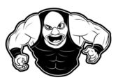 Black and white vector illustration of wrestler