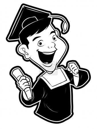 Illustration pour Vecteur noir et blanc Illustration des diplômés - image libre de droit