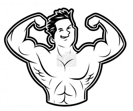 Illustration of body builder