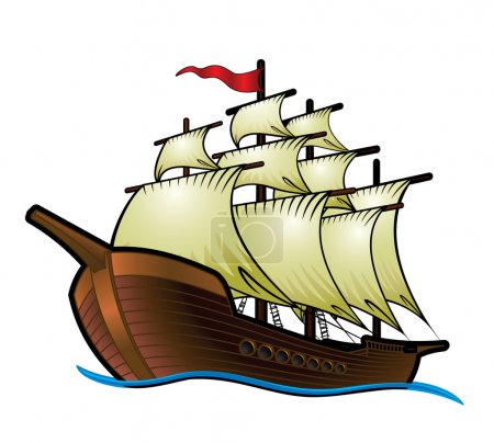 Illustration for Pirate Ship - Royalty Free Image