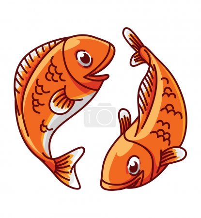 Illustration for Colorful illustration of fish pisces - Royalty Free Image