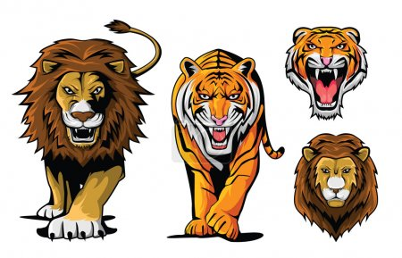 Illustration for Lion And Tiger - Royalty Free Image