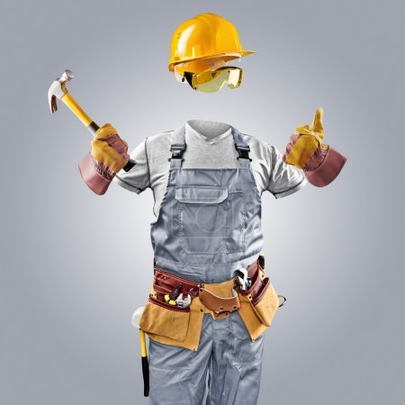 invisible worker in helmet with hammer