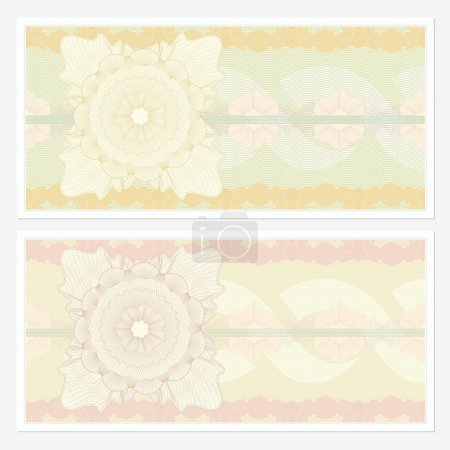 Voucher template with guilloche pattern (watermarks) and border. Background design usable for gift voucher, coupon, banknote, certificate, diploma, currency, ticket, check (cheque) etc. Vector