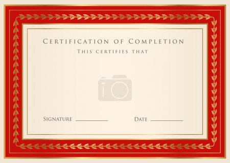 Horizontal red certificate (diploma) of completion (template) with golden floral pattern and border