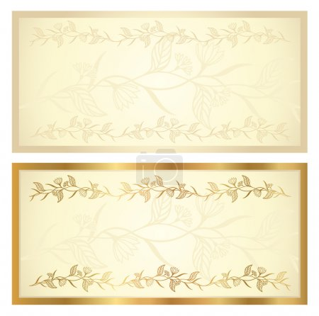 Voucher template with floral pattern and border. T...