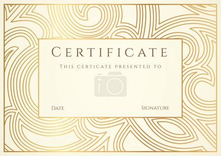 Illustration for Horizontal gold certificate of completion template with floral pattern and border. Design usable for diploma, invitation, gift voucher, coupon, official or different awards. Vector - Royalty Free Image