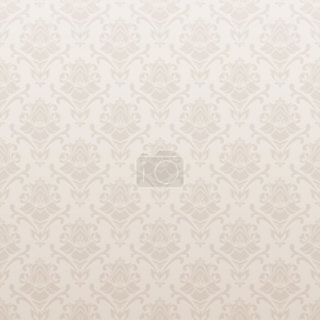 Illustration for Beige seamless vector background with floral pattern. Old wallpaper. Vector illustration - Royalty Free Image