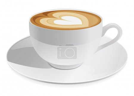 Cup of cappuccino with heart symbol