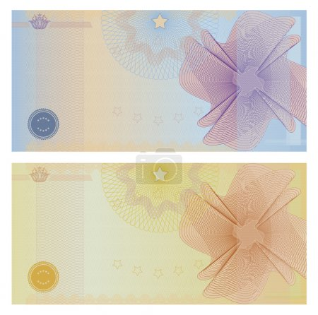 Voucher template with guilloche pattern (watermarks) and borders. This background design usable for gift voucher, coupon, banknote, certificate, ticket, diploma, currency, check (cheque) etc. Vector
