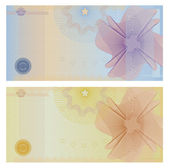 Voucher template with guilloche pattern (watermarks) and borders This background design usable for gift voucher coupon banknote certificate ticket diploma currency check (cheque) etc Vector