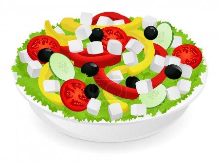 Illustration pour Isolé de salade de légumes (poivrons, tomates, olives, fromage, concombre). salade grecque. illustration vectorielle sur fond blanc - image libre de droit